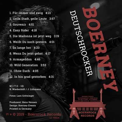 Rückseite CD Cover von Boerney Deutschrock-Album