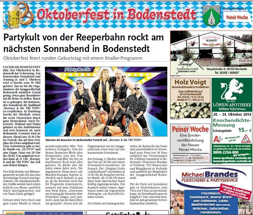 Pressebericht über die Partyband in Bodenstedt beim Zeltfest