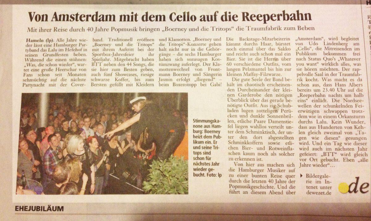 Pressebericht über die Band in der Hamelner Zeitung