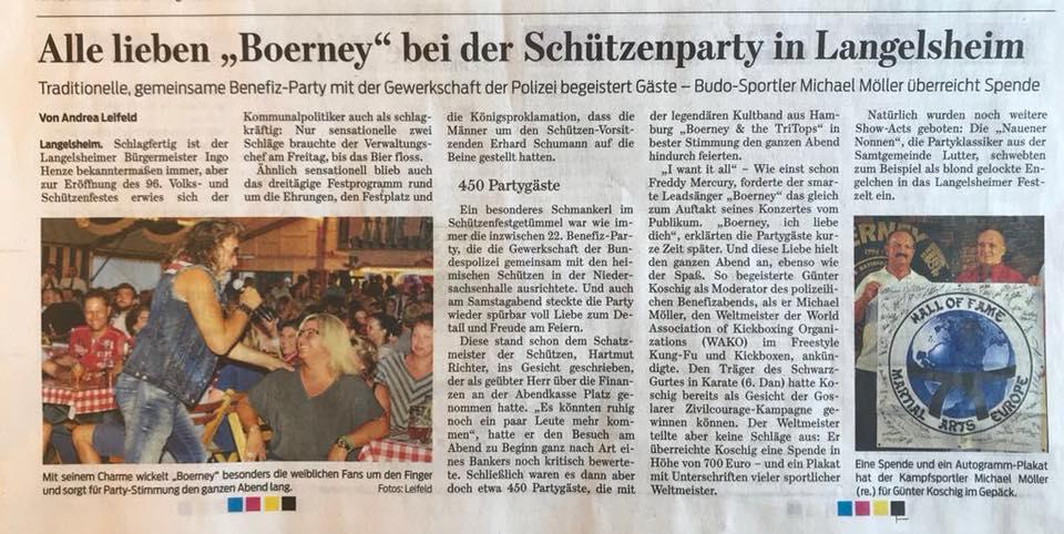 Pressebericht von Boerney in Langelsheim beim Schützenfest in Langelsheim