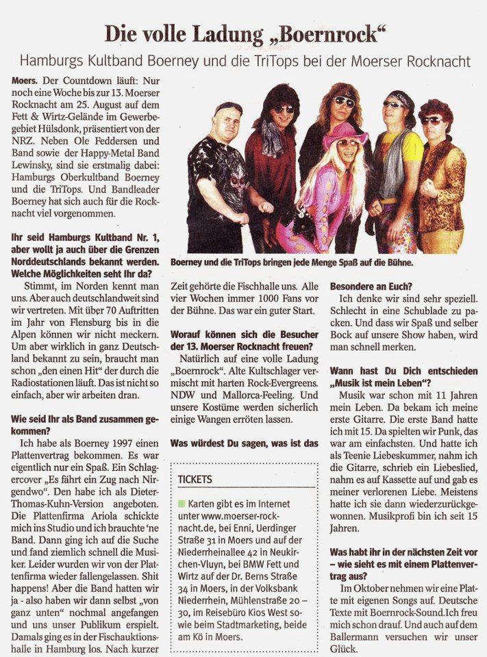 Bericht der Partyband in der Zeitung Moers